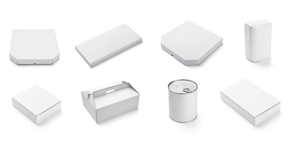 collection of  various white box and packages on white background. each one is shot separately